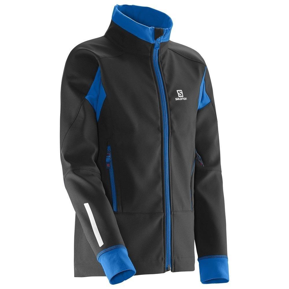 Salomon Momemtum Softshell Jacket JR juniorska kurtka biegowa (czarno niebieski)